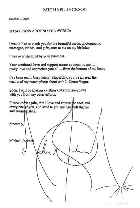 Lettre de Michael Jackson à ses fans